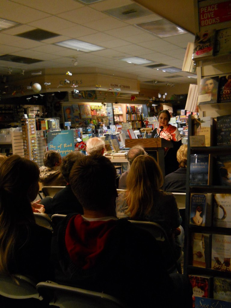 Zoe Ghahremani, author of Sky of Red Poppies and The Moon Daughter, speaking at Warwick's Books in La Jolla, CA
